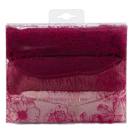Tri-Coastal Design Burgundy Floral Makeup Remover Cloth Set