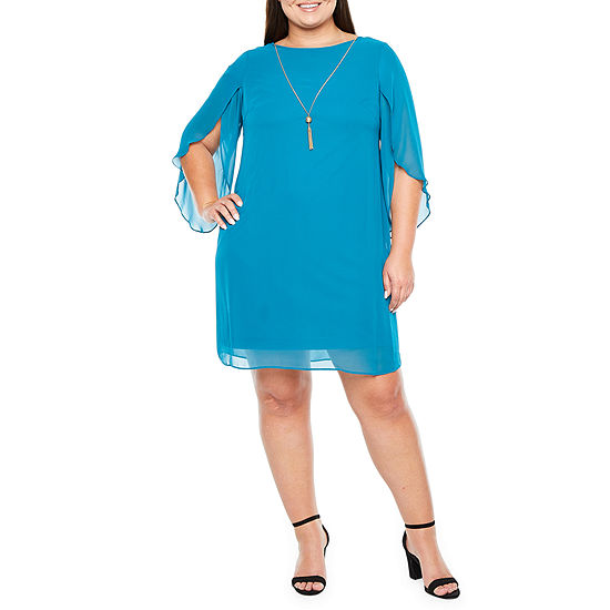 MSK 3/4 Split Sleeve Shift Dress-Plus