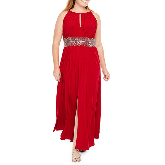 R & M Richards Sleeveless Embellished Evening Gown-Plus