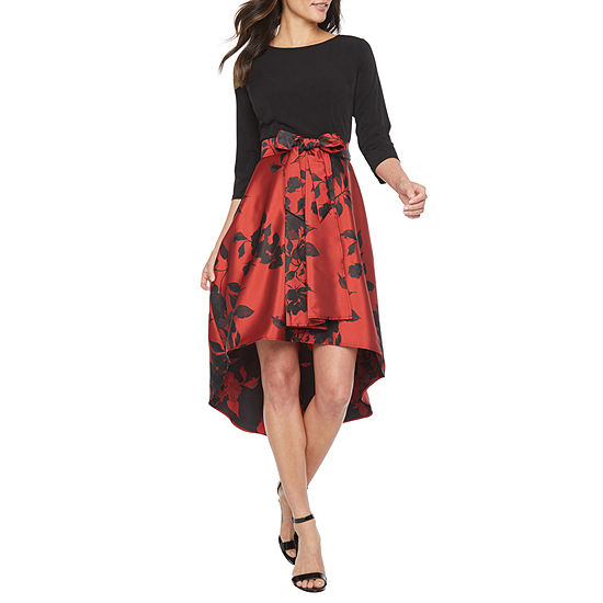 R & K Originals 3/4 Sleeve Floral Hi Lo Fit & Flare Dress-Petite