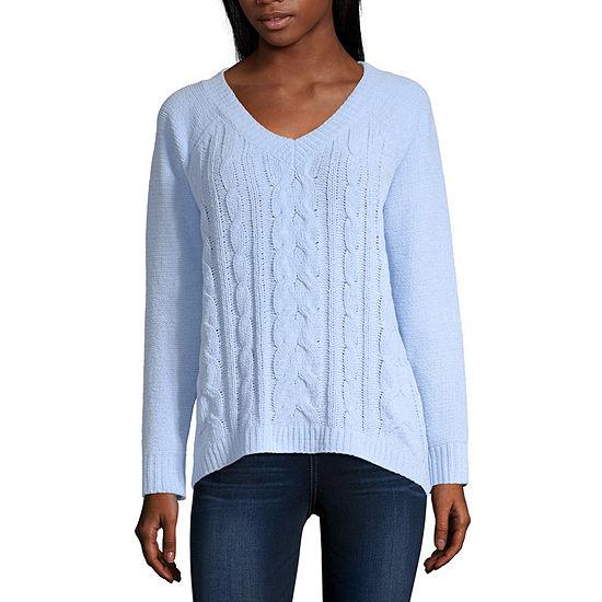 Arizona-Juniors Womens V Neck Long Sleeve Pullover Sweater