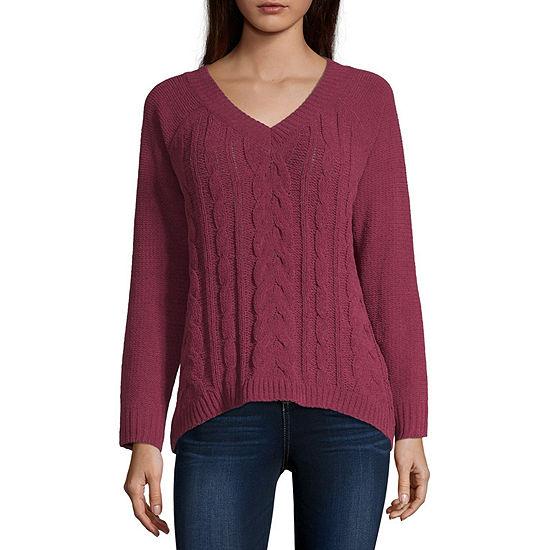 Arizona Womens V Neck Long Sleeve Pullover Sweater -Juniors