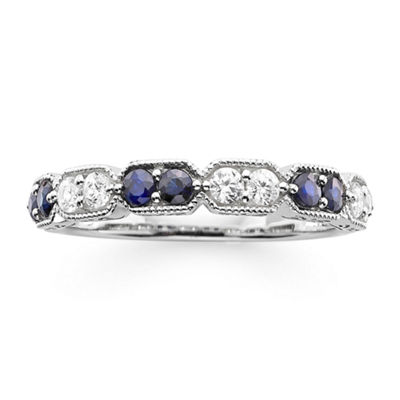 I Said Yes™ 1/4 CT. T.W. Diamond and Lab-Created Blue Sapphire Wedding Band