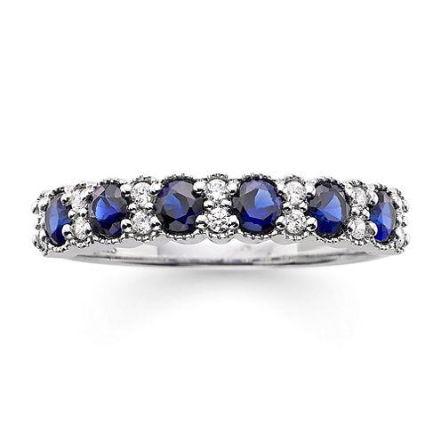 I Said Yes™ 1/7 CT. T.W. Diamond and Lab-Created Blue Sapphire 4mm Wedding Band