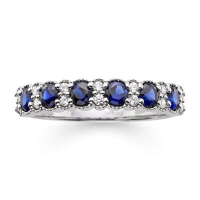 I Said Yes™ 1/7 CT. T.W. Diamond and Lab-Created Blue Sapphire 4mm Wedding Band