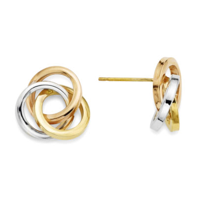14K Tri-Color Gold Love Knot Earrings