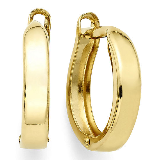 14k Yellow Gold 1235mm Hinged Square Edge Hoop Earrings
