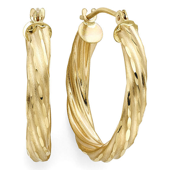 Diamond-Cut 14K Yellow Gold 15mm Twisted Hoop Earrings