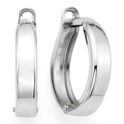 14K White Gold 12.35mm Hinged Square-Edge Hoop Earrings