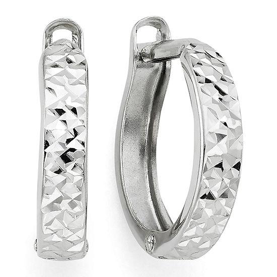 Diamond-Cut 14K White Gold Hinged Hoop Earrings