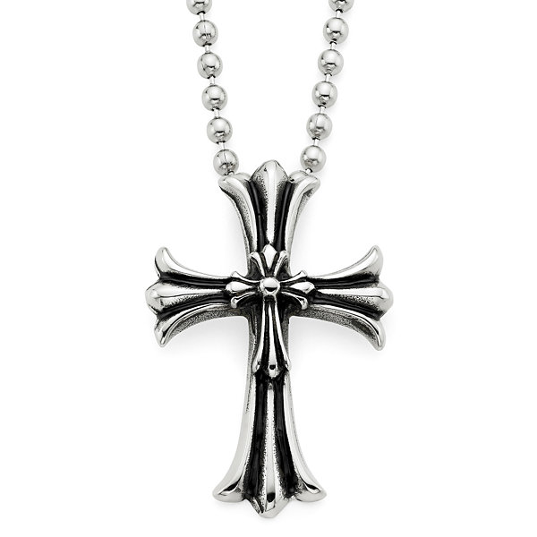 Mens oxidized stainless steel cross pendant necklace jcpenney mens oxidized stainless steel cross pendant necklace aloadofball Images
