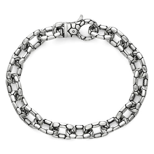 """Mens Stainless Steel 8½"""" Stamped Link Chain Bracelet"""