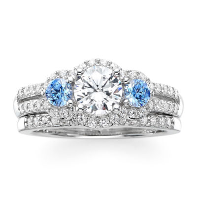DiamonArt® White and Blue Cubic Zirconia Sterling Silver 3-Stone Bridal Ring Set