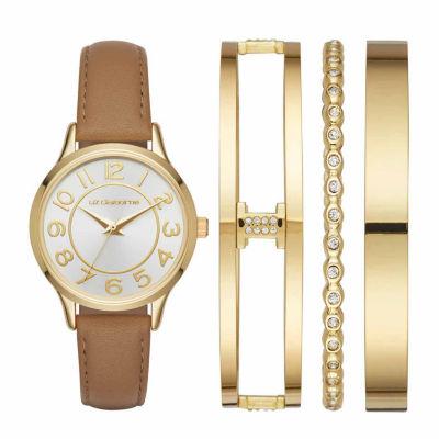 Liz Claiborne Womens Brown Watch Boxed Set-Lc9045