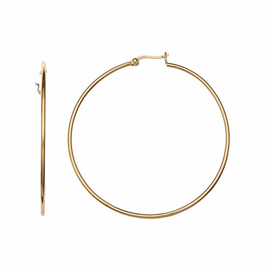Gold Reflection 50mm Circle Hoop Earrings