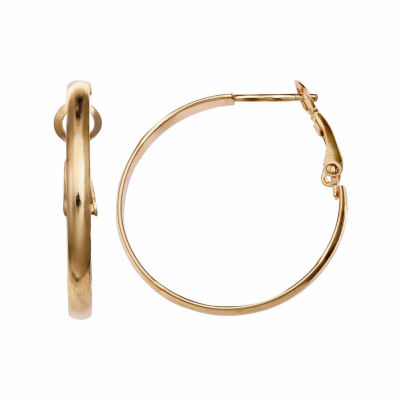 Gold Reflection 30mm Circle Hoop Earrings