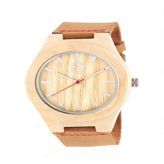 Earth Wood Mens Brown Leather Strap Watch-Ethew4101
