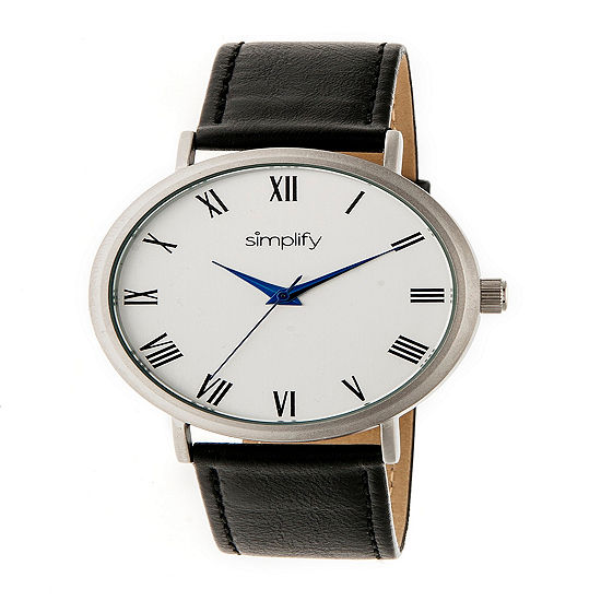 Simplify Unisex Black Leather Strap Watch-Sim2901