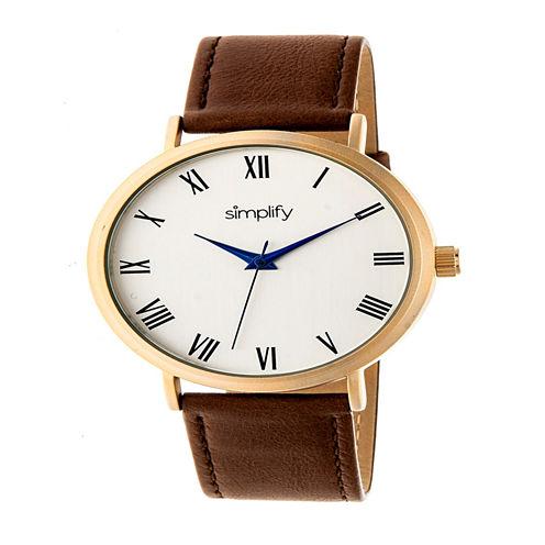 Simplify Unisex Brown Strap Watch-Sim2903