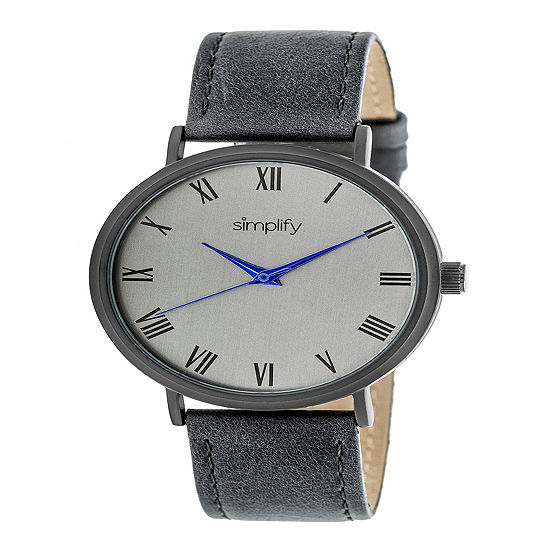 Simplify Unisex Gray Leather Strap Watch-Sim2906