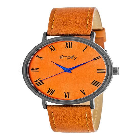 Simplify Unisex Orange Leather Strap Watch-Sim2907