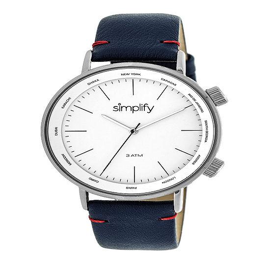 Simplify Unisex Blue Leather Strap Watch-Sim3302