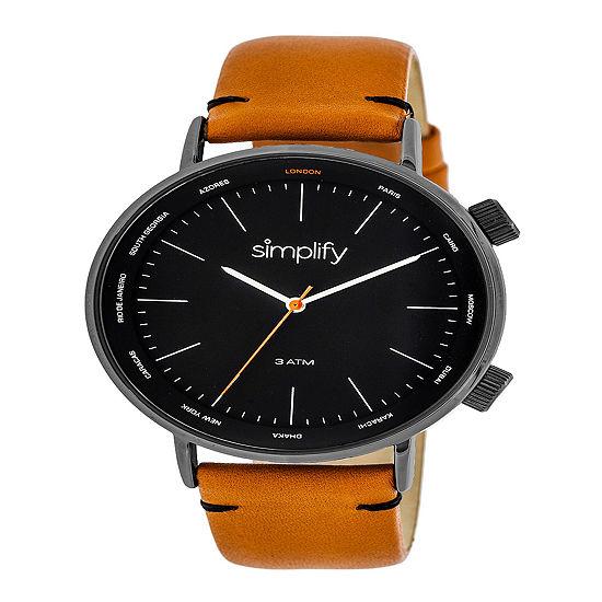 Simplify Mens Orange Leather Strap Watch-Sim3307