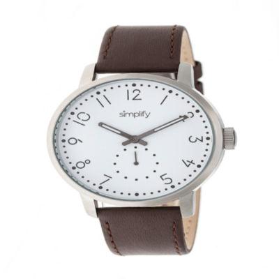 Simplify Unisex Brown Strap Watch-Sim3401