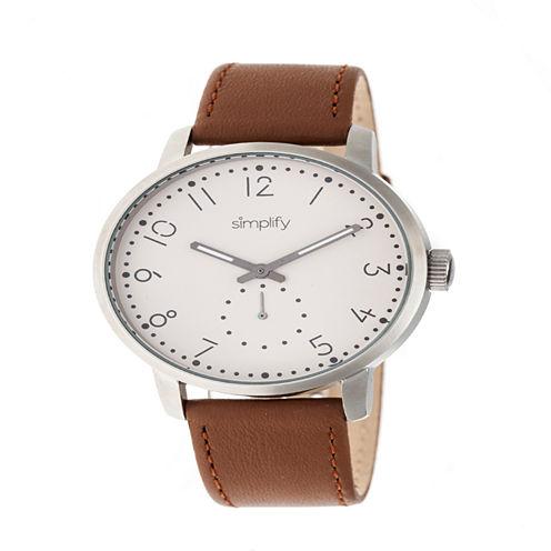 Simplify Unisex Brown Strap Watch-Sim3403
