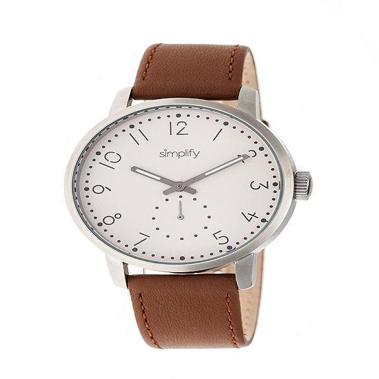 Simplify Unisex Brown Leather Strap Watch-Sim3403