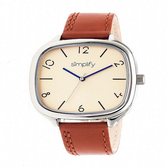 Simplify Unisex Brown Leather Strap Watch-Sim3505