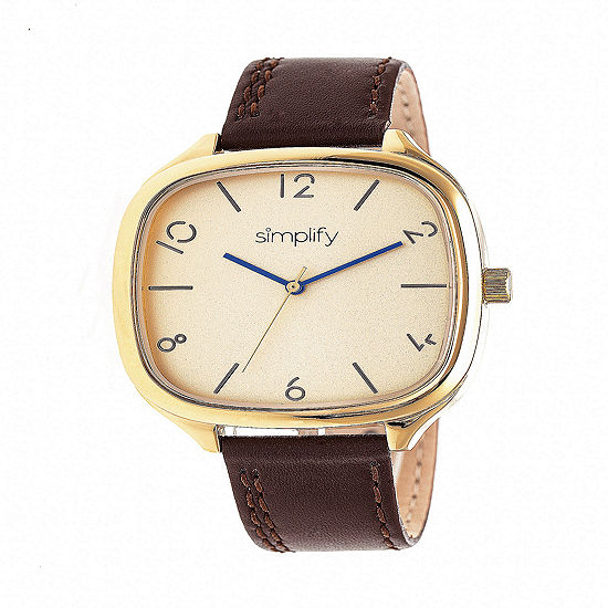 Simplify Unisex Brown Leather Strap Watch-Sim3508