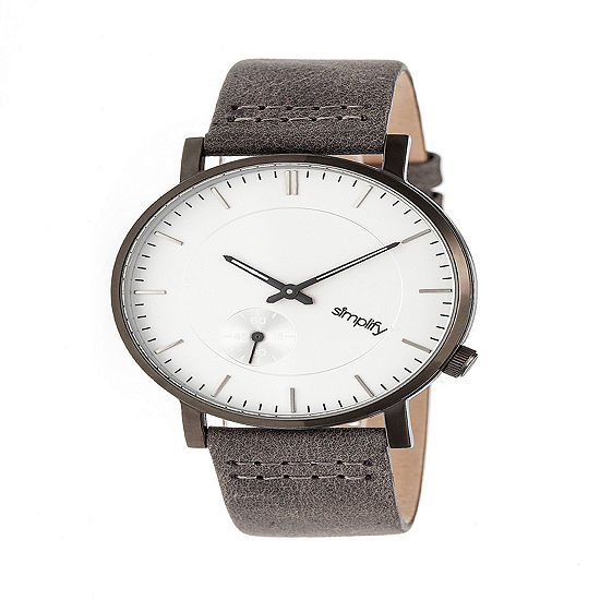 Simplify Unisex Gray Leather Strap Watch-Sim3602