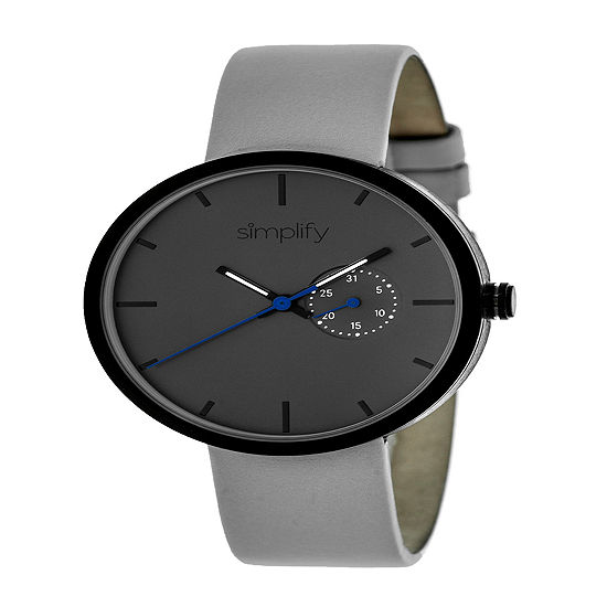 Simplify Unisex Gray Leather Strap Watch-Sim3903