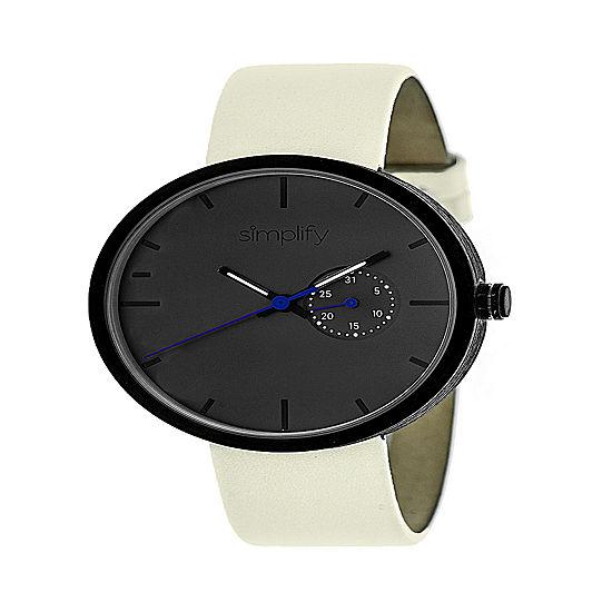 Simplify Unisex White Leather Strap Watch-Sim3905