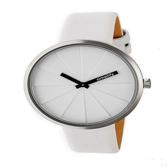 Simplify Unisex White Leather Strap Watch-Sim4001