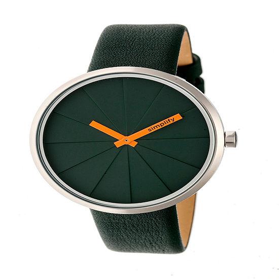 Simplify Unisex Green Leather Strap Watch-Sim4002