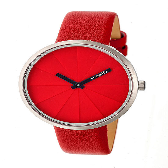 Simplify Unisex Red Leather Strap Watch-Sim4003