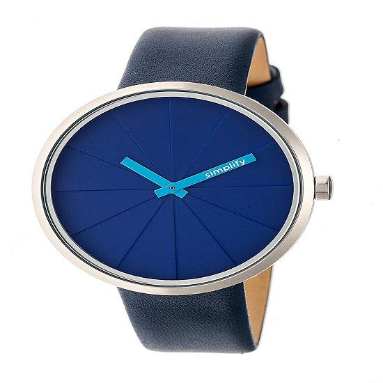 Simplify Womens Blue Leather Strap Watch-Sim4005