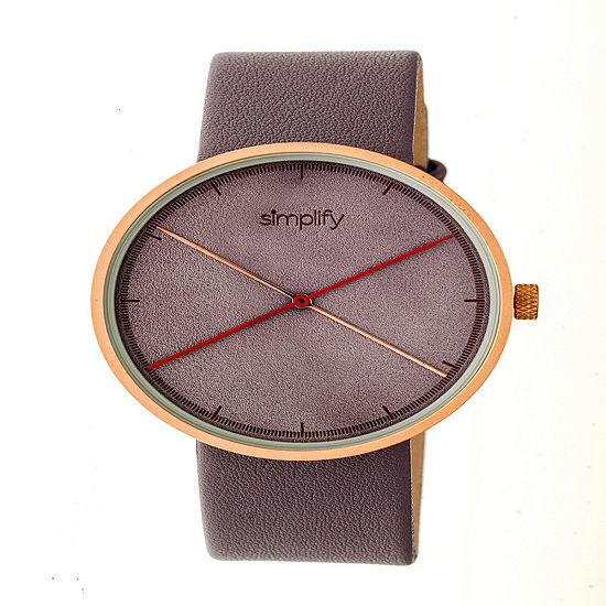 Simplify Unisex Gray Leather Strap Watch-Sim4105