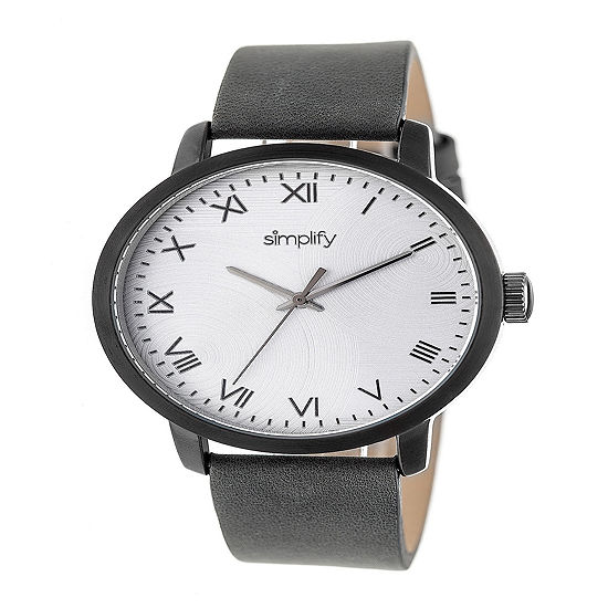 Simplify Unisex Gray Leather Strap Watch-Sim4205