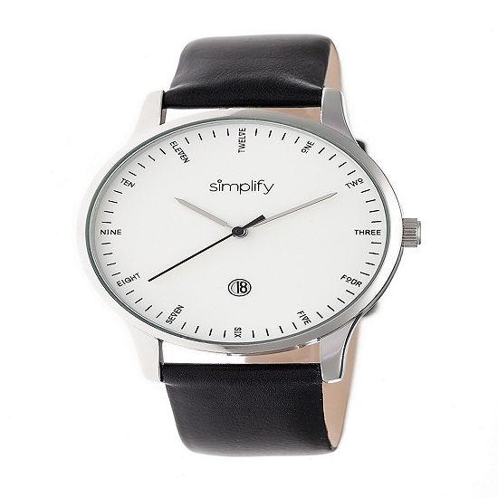 Simplify Unisex Black Leather Strap Watch-Sim4301