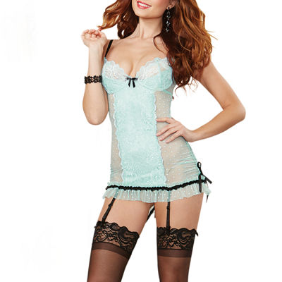 Dreamgirl Mesh Chemise and Garter
