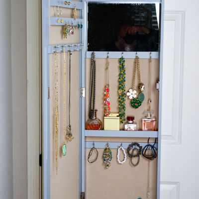 Hives & Honey Grey Over the Door Jewelry Storage Mirror