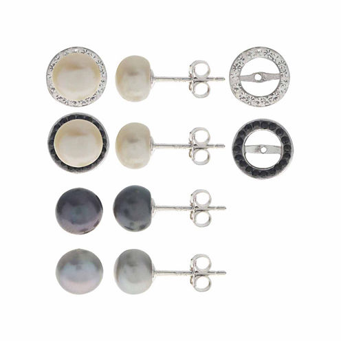 3-pc. White Pearl Sterling Silver Earring Sets