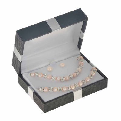 Pink Cultured Freshwater Pearl Sterling Silver 3-pc. Jewelry Set