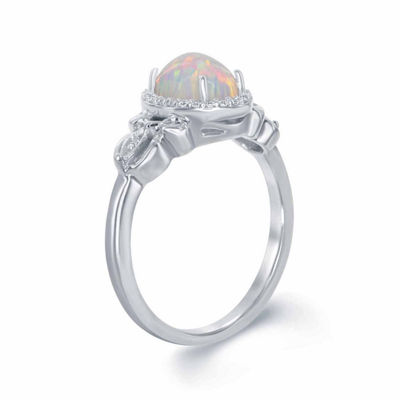 Enchanted Disney Fine Jewelry 1/10 CT. T.W. Diamond & Lab-Created Opal Sterling Silver Cocktail Ring