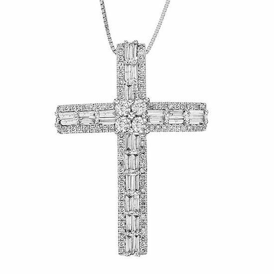 3 4 Ct Tw Diamond 10k White Gold Cross Pendant Necklace