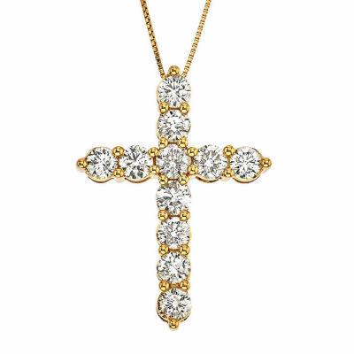 Womens 2 CT. T.W. Genuine White Diamond 14K Gold Cross Pendant Necklace