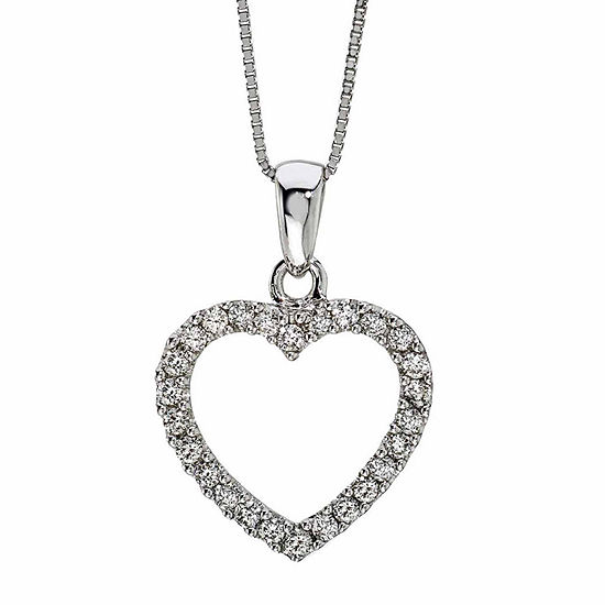 Womens 1/4 CT. T.W. Genuine White Diamond 14K Gold Heart Pendant Necklace